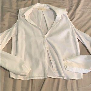 Hollister white collard shirt